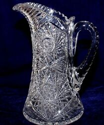 Exquisite Antique Early 19oo's American Brilliant Period Cut Glass Pitcher