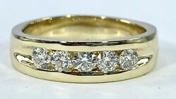 .90 Ct 5 X Diamond Mens 6 Mm Band Ring Solid 14 K Yellow Gold See Video