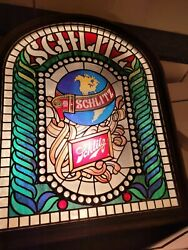 Vintage 1977 Schlitz Beer On Tap Stained Glass Lighted Advertising Sign F/s