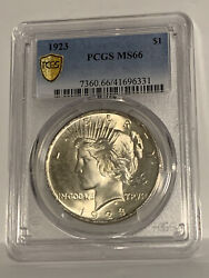 1923 1 Pcgs Ms 66 Peace Silver Dollar, Gem+ Uncirculated Bright Lustrous Coin