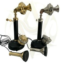 Old USA Candlestick Telephones Combo Rotatory Dial Realistic Replica Model Gift