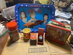 Vintage Instant Collection Of Dukes Of Hazard 5 Piece Lot Lunch Box Watch Tray