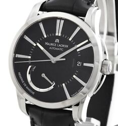 Maurice Lacroix Pontos Menand039s Pt6168-ss001-331-1 Automatic Black Leather Menand039s