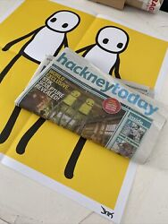 Stik Blue Signed Hackney Today Poster Holding Hands + Newspaper A1 Condition
