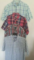 Lot Of 4 Nautica Sun River Mens Size Large Plaid Ss Button Casual Shirts