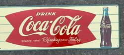 Embossed Tin Coca Cola Fishtail Sign Enjoy That Refreshing New Feeling 32 X11.75