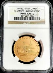 1978 Matte Proof Gold Russia 100 Roubles Olympic Grandstand Ngc Proof 69 Matte