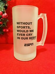 Espn Sportcenter Collectible Frosted Beer Stein Mug W/ Quote 24 Oz. Ultra Rare