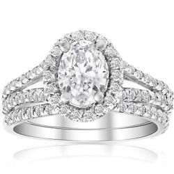 G/si 1.75ct Oval Diamond Halo Engagement Wedding Ring Set White Gold Enhanced
