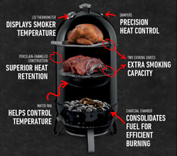 Vertical 2-grate Charcoal Smoker + Cover Outdoor Bbq Cooker Balcony Deck Patio