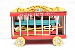 Vintage Fisher Price Circus Wagon Toy W/ Accessories 1962 1963