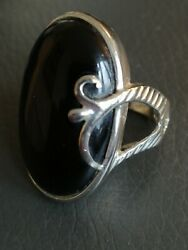 Jean Desprandeacutes Ring Silver 925 And Black Onyx Art Deco 13.3g Hand Made