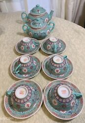 Vintage Chinese 万寿无疆 Famille Rose Porcelain Tea Or Coffee Sets 14 Pieces Marked