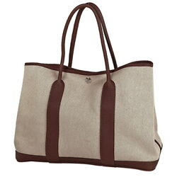 Hermes Garden Party Pm Tote Bag Toile Ash Natural Brown T W36 H26 D17.5 Auth