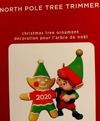 2020 Hallmark Ornament North Pole Tree Trimmers Elf and Gingerbread Man