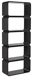 78 Dark Mahogany Bookcase Five 5 Shelves Rounded Corners Modern Office Home