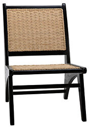 33 Charcoal Black Sungakai Wood Chair Woven Peeled Rattan Lawn Party Occasional