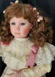 Camelot Collectible Dolls 22 Porcelain Doll Antique French Cream Pink Costume