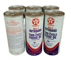 Vintage Texaco 50-1 Outboard Motor Oil Cans 6 Pack Unused Nos Free Shipping