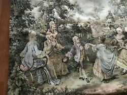 Large 52 X 35 Antique Tapestry Wall Hanging Music Parlor Scene - French Woven