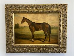 Lovely Vintage Horse Oil Painting On Board In Gold Picture Frame