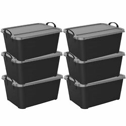 Life Story Black Stackable Closet amp; Storage Box 55 Quart Containers 6 Pack