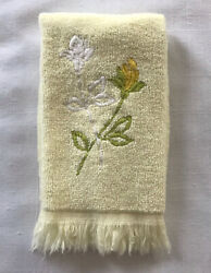 Martex Vintage Hand Towel Embroidered Roses On Yellow Cotton