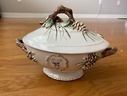 Fitz And Floydchristmas Forest Frost Tureen With Ladle - New