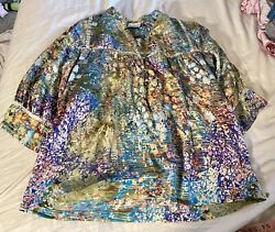 Dolan Small Colorful Modal Silk Blouse Excellent