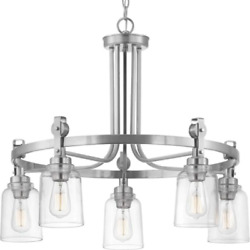 Clear Glass Edison Shade 5-light Chandelier Retro Vintage Industrial Lamp Ring