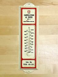 Vintage Campbellstown Ag Center Olin Dealer 12 Metal Thermometer Eaton Ohio Old