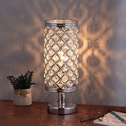 Crystal Table Lamp Sparkle Nightstand Lamp Modern Accent Round Night Light With
