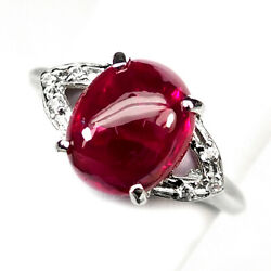 Ruby Blood Red Cabochon Oval 4.50 Ct. 925 Sterling Silver Ring Sz 6.5 Gift Women