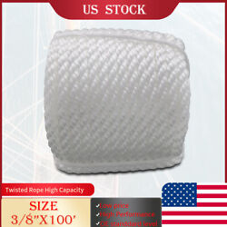 White 3/8x100and039 Twisted Three Strand Anchor Marine Rope Boat Dock Line W/thimble