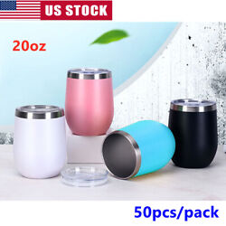 50pcs 12oz Wine Tumbler Double Wall Stainless Steel Insulated Eggshell Cup + Lid