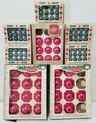 89 Vintage Shiny Brite Glass Christmas Ornaments - Small Med Large Pink And Blue