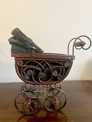 Vintage Wicker Baby Doll Carriage Buggy Antique Stroller Home Decor Planter