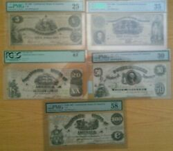 1861 Confederate Currency Date/denomination Set Graded.