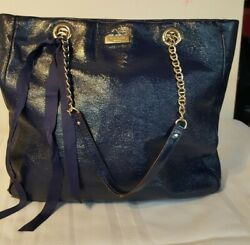 Kate Spade New York Navy Blue Patent Leather Gold Chain Straps