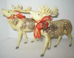 Pair Of Vintage Large Celluloid Reindeer 7 X 7.5 Christmas Heavy Glitter