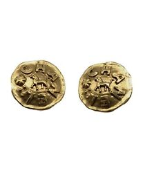 Authentic Vintage Logo Earrings Gold Made In France Ladies Accessory