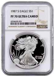 1987-s Proof American Silver Eagle One Dollar Coin Ngc Pf70 Ultra Cameo