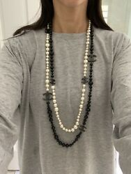 Black And White Double Strand Pearl Necklace
