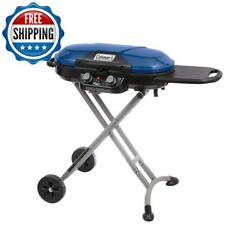 Portable Gas Grill 2-burner Outdoor Camping Stove Collapsible Steel Legs Blue