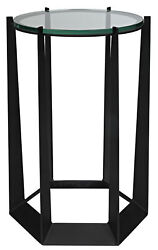 24 H Alonzo Glass Top Black Metal Finish Side Table Tapered Legs Open Abstract