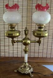 Antique Lamp Electric,two Acid Etched Shades Brass Double Arm Student Gorgeous