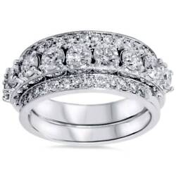 Womenand039s 2 1/20ct Diamond Vintage Stackable Set Of 3 Rings 14k White Gold