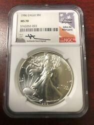 1986 Eagle S1 Ngc Ms-70 John M. Mercanti Signed ''12th Chief Engraver'' Coin.