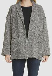 399 Eileen Fisher Womenand039s Black Shawl Collar Open-front Coat Jacket Size M