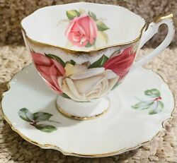 Antique Rare Queen Anne Pink White And Red Roses Lady Sylvia Tea Cup And Saucer Set
